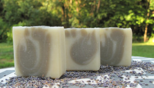 Lavender-lime soap with a French green clay swirl