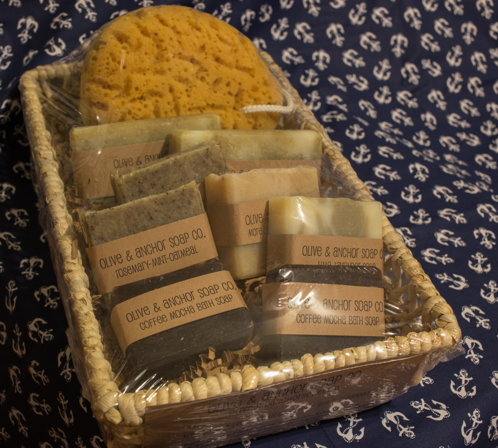gift basket with 8 soaps and a sea sponge for the 2014 Grace Foundation fund raiser, Hawaii Dawg-O